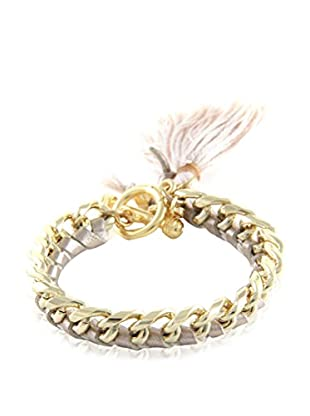 Ettika Beige & 18K Gold-Plated Tassel Your Heart Bracelet