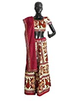 DollsofIndia Multicolor Embroidery on Off-White Cotton Lehenga Choli with Red Dupatta and Elaborate Sequin Work - Cotton - White
