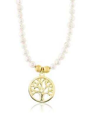 Silver One Collar Árbol de la Vida Oro & Perlas