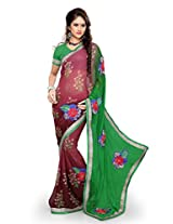 Sourbh Sarees Green And Maroon Chiffon Printed Best Sarees (with color options) for Women Party Wear,Clothing Collection, Diwali Durga Puja Gifts