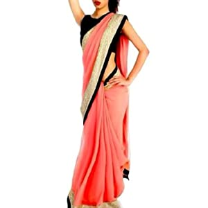 Bollywood Replica Model Chiffon Saree In Baby Pink Colour NC436