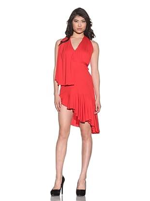 Halston Women's Asymmetrical Halter Dress (Red)