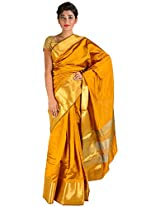 Fashion Fuzan Women's Art Silk Saree with Blouse Piece (Mustard Yellow)
