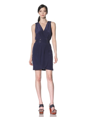 Akiko Women's V-Neck Silk Dress (Navy)