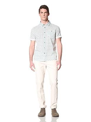 Zanerobe Men's Bay Short Sleeve Woven Shirt (Washed Aqua)