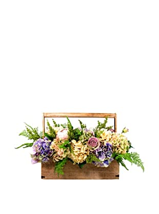 Creative Displays Purple & Cream Hydrangea, Rose & Fern Basket (Purple/Cream)