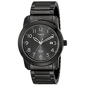 Timex Men's T2P1359J Elevated Classics Black Sunray Dial, Gray Plated Expansion Band Watch
