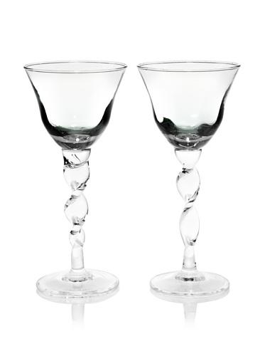 Villa d'Este Set of 2 Stem Wine Glasses (Green)