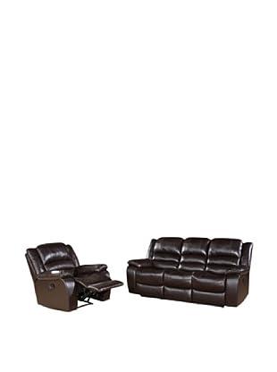 Abbyson Living Levari Reclining Leather Sofa & Chair, Dark Truffle
