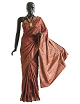DollsofIndia Polyester Saree with Intricately Woven Border and Anchal - Polyester - Brown