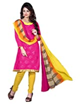 Lookslady Embroidered Magenta Chanderi Dress Material
