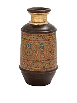Deco 79 Intricate Terracotta Painted Vase, Brown/Yellow