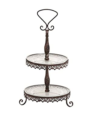 2-Tier Tray Stand, Antiqued