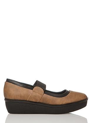 Rizzo Zapatos Elástico Tacón Piso (Taupe / Negro)