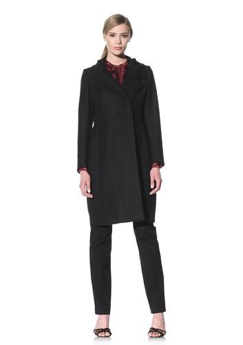Luciano Barbera Women's Wool Herringbone Coat (Navy Black Herringbone)