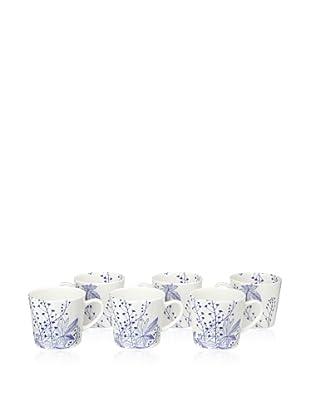 Elinno Set of 6 Evergreen Blues Mugs, White/Blue, 3.5