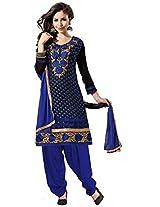 Vibes Women's Gorgette Salwar Suit Dress Material (V175-5002 _Blue _Free Size)
