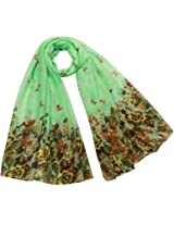 Butterfly Flower Garden Sheer Long Scarf Shawl - Sea Green