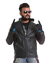 Leather Jacket for Men by COLORS & BLENDS - Dust Black - L Size