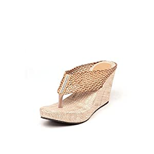 Sindhi Footwear Women's Mesh Slippers - Beige