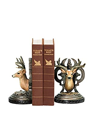 Pair of Deer Head Bookends, Tan/Cream/Brown