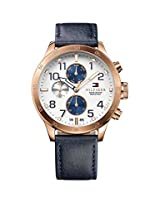 TOMMY HILFIGER Multi-Function White Dial Blue Leather Strap Men's Watch - TH1791139J