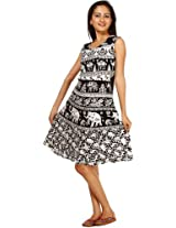 White and Black Tunic Skirt with Printed Elephants and Camels - Pure Cotton