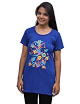 Romano Women Blue Cotton T-shirt