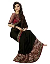 Look N Buy Chiffon Saree With Blouse Piece(58S1006_Black Maroon)