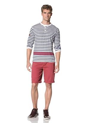 Under 2 Flags Men's Striped Henley (True Navy)