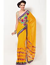 Embroidered Chiffon Yellow Lehengas Saree