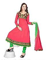 Khushali Women's Semi Cotton Unstitched Anarkali Salwar Suit Dress material (Gajri)