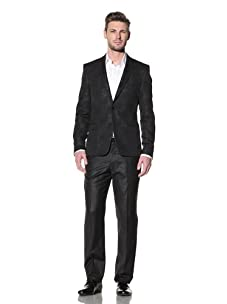 Versace Collection Men's Trend Fit Textured Evening Jacket (Black)