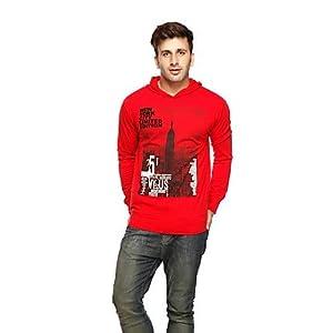 Gritstones Red Men Sweatshirt GSFSPRNTPKTHDDRD60073
