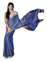 Roop Kashish Georgette Satin Chiffon Saree With Border Saree(10803_Blue)