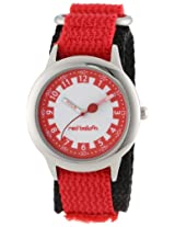 Red Balloon Kids W000185 Red Velcro Stainless Steel Time Teacher Watch