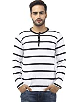 Leana Men's Button Front Cotton T-Shirt (SR34_White Black_M)