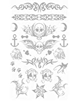 Metallic Silver Jewelry Inspired Temporary Bling Tattoo by Eufouria Inc. YW016
