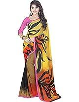 Divyaemporio Women Faux Georgette Self Print With Blouse Piece Sarees (S-1319 _Multi-Coloured _Free Size)