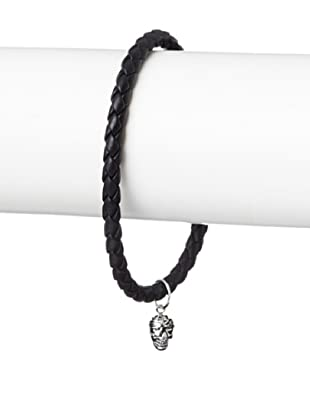 Link Up Skull Charm Black Woven Leather Bracelet