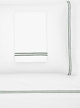 Garnier-Thiebaut Nice Hotel-Style Sheet Set (White/Forest Green)