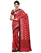 Meghdoot Artificial Tussar Silk Saree (JM283_CHERRY Embroidered Light red Sari)