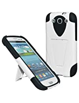 Amzer Double Layer Hybrid Case with Kickstand for Galaxy S3 Neo and S III (Black/White)