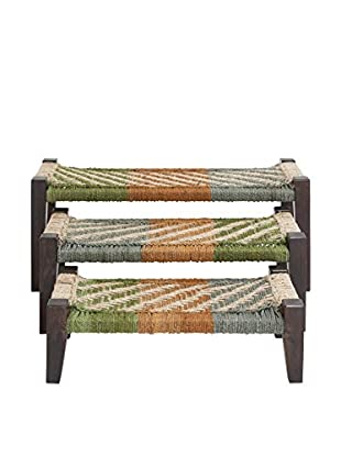Set of 3 Wood Jute Benches, Multi