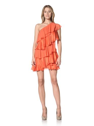 Halston Heritage Women's One-Shoulder Tiered Dress (Tangelo)