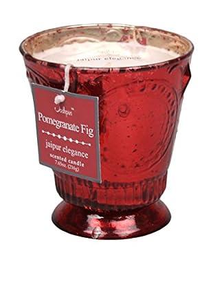 Jodhpuri 7.65-Oz. Pomegranate Fig Jaipur Elegance Mercury Glass Candle, Red/White