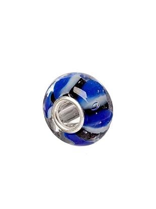 Bacio Abalorio de Plata de Ley 925  Murano Rayado Negro Azul