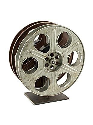 bambeco Vintage Film Reel Wine Rack, Silver