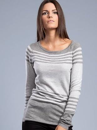 Cortefiel Pullover gestreift (Grau)