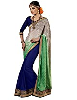 Faux Georgette Blue & Green/Gray Colour Saree for Party Wear